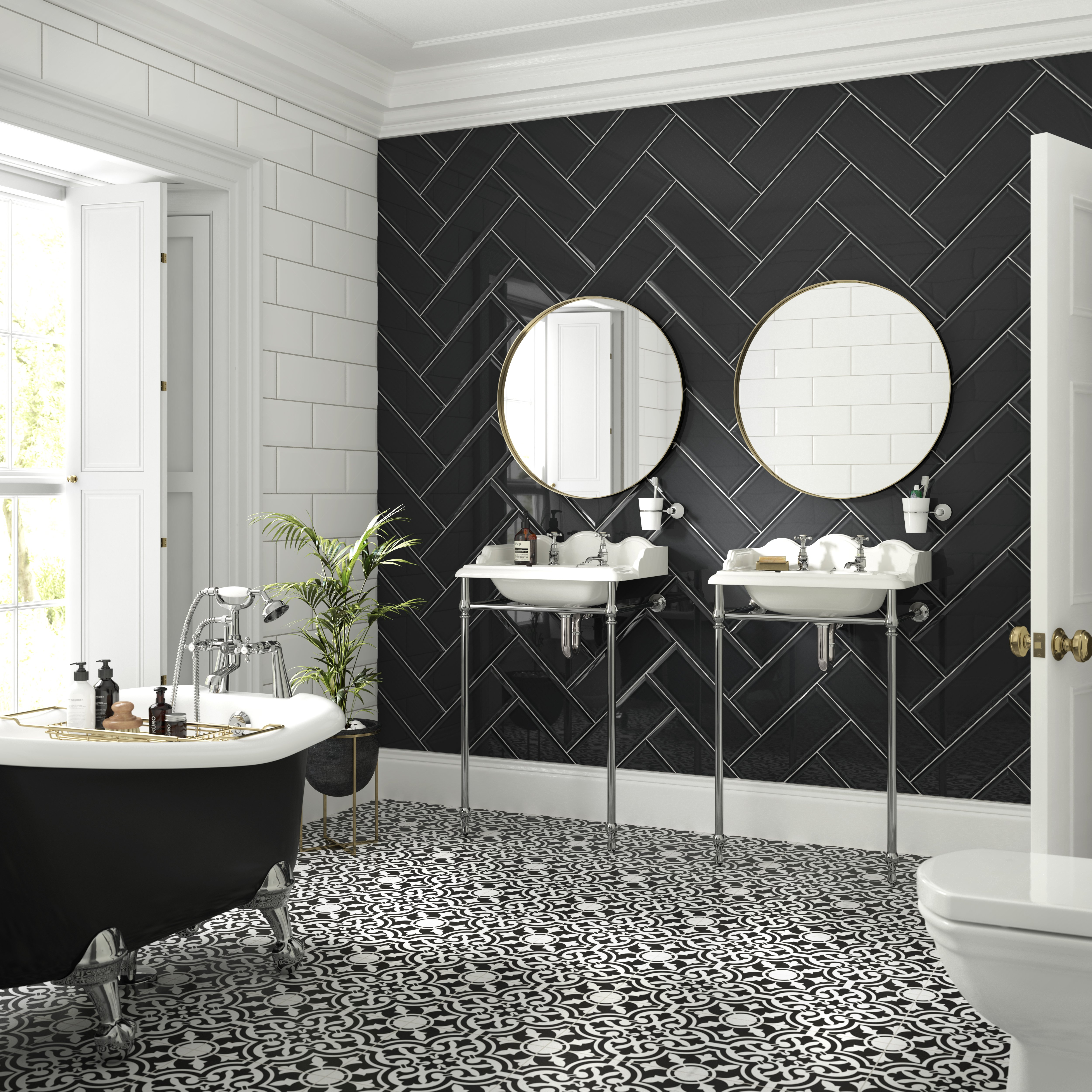 Devonshire_DEV01N_Black_Matt_330x330mm_with_Form_FORM1A_Winter_FORM8A_Charcoal_Gloss_400x150mm_Bathroom [1].jpg