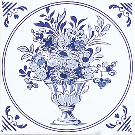 Delft, White/Blue Inset 1