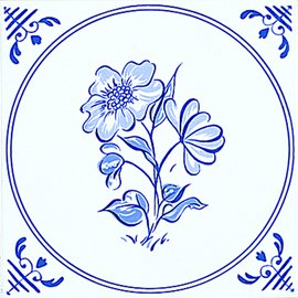 Delft, White/Blue Inset 2
