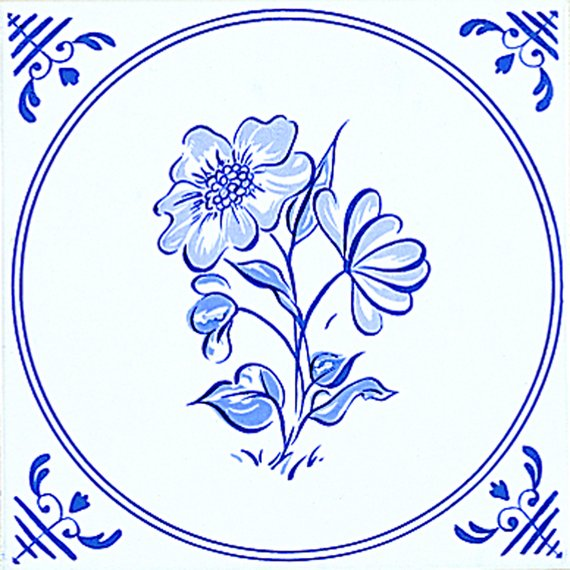 Delft, White/Blue Inset 2 (150mm x 150mm)