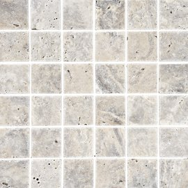 Natural Mosaics, Silver Travertine Square